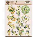 Carte 3D à découper - Jeanine's Art - Birds and Flowers - Oiseaux Jaunes