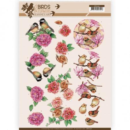 Carte 3D à découper - CD11221 - Birds and Flowers - Oiseaux Roses -  Jeanine's Art