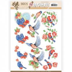 Carte 3D prédéc. - Jeanine's Art - Birds and Flowers - Oiseaux bleus