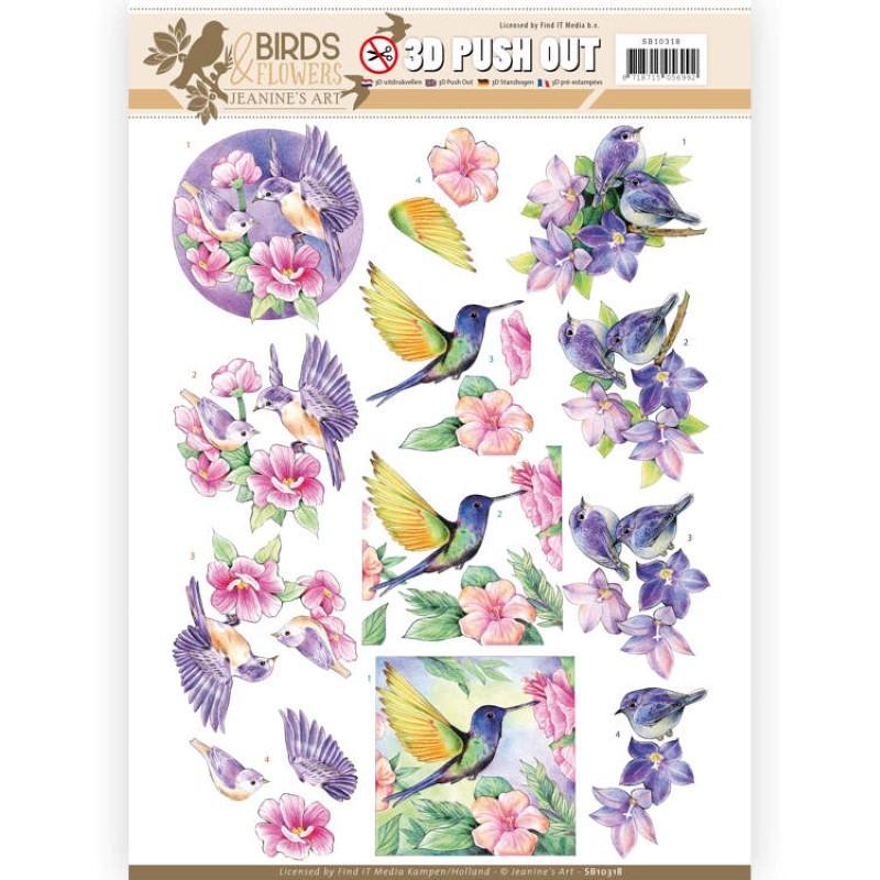 Carte 3D prédéc. - Jeanine's Art - Birds and Flowers - Oiseaux tropicaux