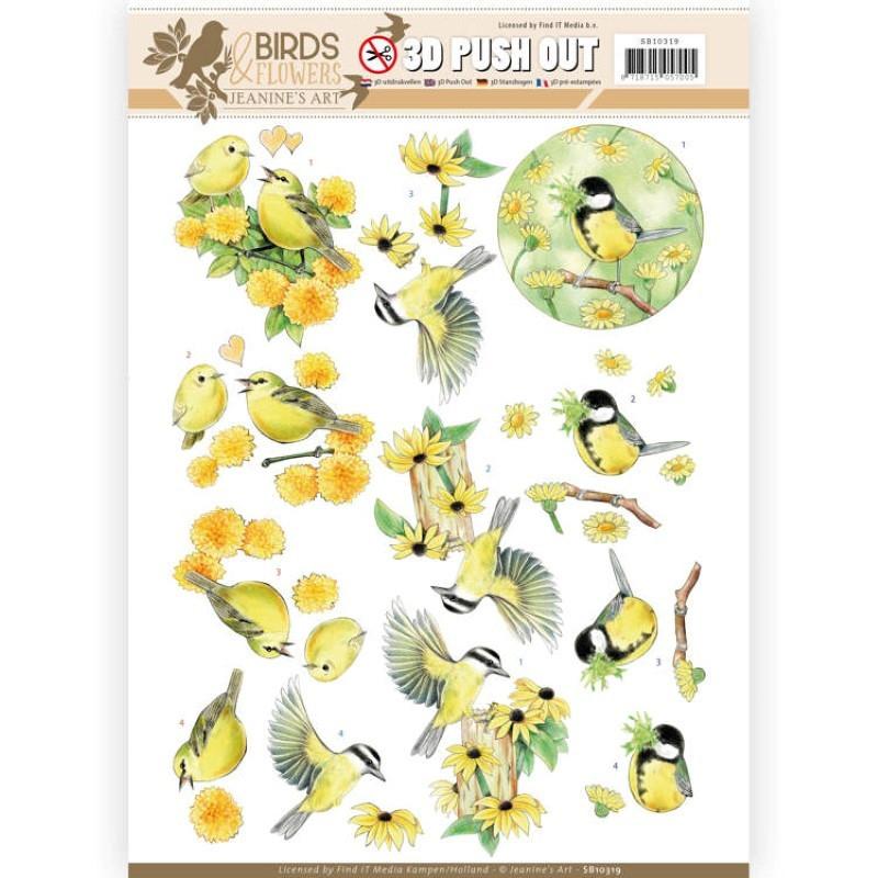 Carte 3D prédéc. - Jeanine's Art - Birds and Flowers - Oiseaux jaunes