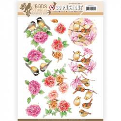 Carte 3D prédéc. - Jeanine's Art - Birds and Flowers - Oiseaux roses