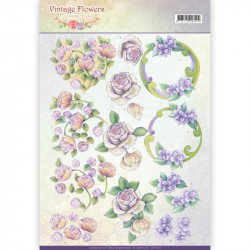 Carte 3D à découper -  Jeanine's Art - Vintage Flowers - Pourpre romantique
