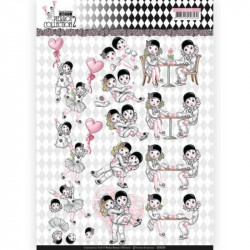 Carte 3D à découper - Yvonne Creations- Pretty Pierrot 2 - L'amour est dans l'air