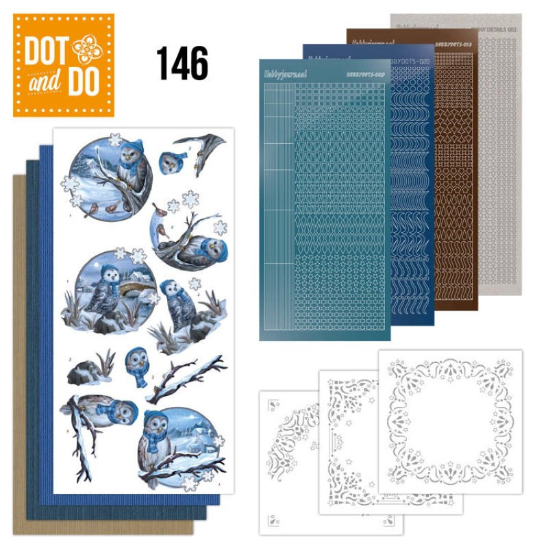 Dot and do 146 - kit Carte 3D - Chouettes en hiver