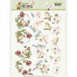 Carte 3D à découper - Happy spring - Oiseaux joyeux
