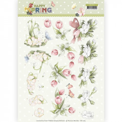 Carte 3D à découper - Happy spring - Fleurs - Precious Marieke