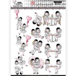 Carte 3D prédéc. - Yvonne Creations - Pretty Pierrot 2 - Amour dans l'air - SB10324