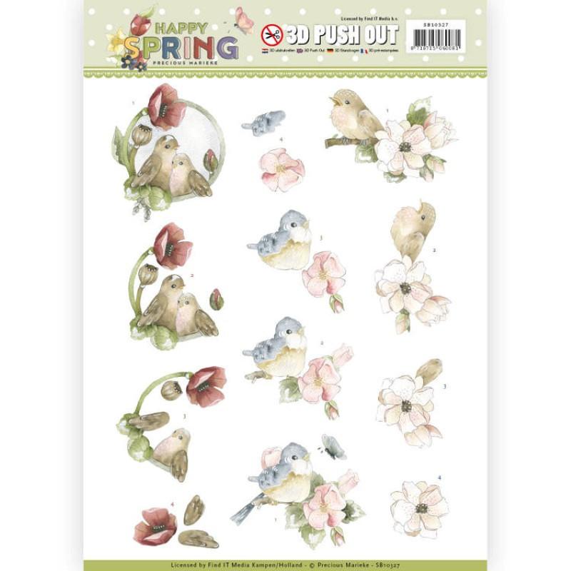 Carte 3D prédéc. - Yvonne Creations- Happy Spring - Oiseaux joyeux - SB10327
