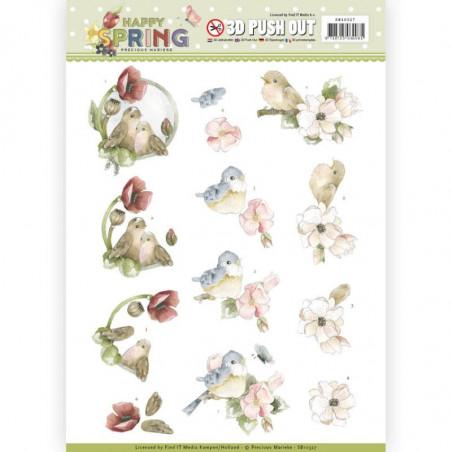 Carte 3D prédéc. - SB10327 - Happy Spring - Oiseaux joyeux