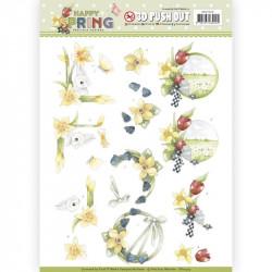 Carte 3D prédéc. - Yvonne Creations- Happy Spring - Jonquilles - SB10329
