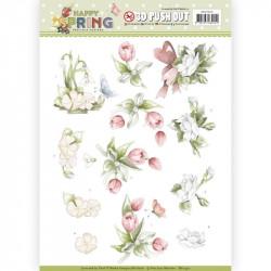 Carte 3D prédéc. - Yvonne Creations - Happy Spring - Fleurs - SB10330