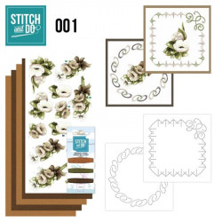 Stitch and do 001 - kit Carte 3D broderie - fleurs blanches et brunes