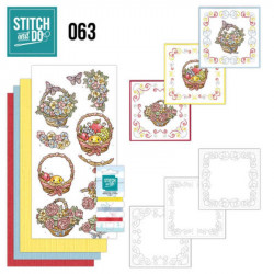 Stitch and do 63 - kit Carte 3D broderie - Paniers de fleurs