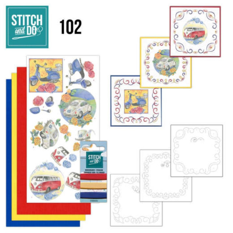 Stitch and do 102 - kit Carte 3D broderie - Véhicules vintage