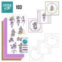 Stitch and do 103 - kit Carte 3D broderie - Fleurs mauves