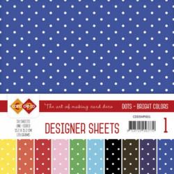 Bloc papier designer mega pack 50 feuilles pois couleurs vives 15.2 x 15.2 cm