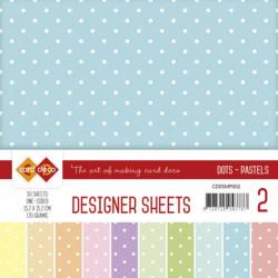 Bloc papier designer mega pack 50 feuilles pois couleurs pastels 15.2 x 15.2 cm