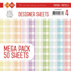 Bloc papier designer mega pack 50 feuilles tartan pastels 15.2 x 15.2 cm