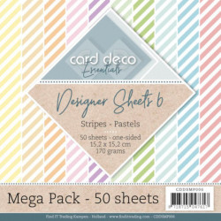Bloc papier designer mega pack 50 feuilles rayures pastels 15.2 x 15.2 cm