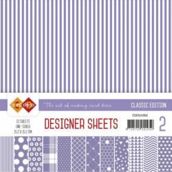 Bloc papier designer violet classique 12 feuilles 15.2 x 15.2 cm