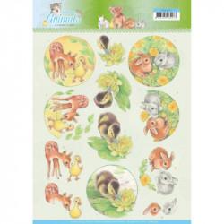 Carte 3D à découper -  Young animals - Canetons et lapins - Jeanine's Art