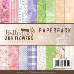 Bloc de papier - jeanine art - Butterflies and Flowers 15.2 x 15.2