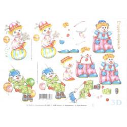 Carte 3D à découper -  petits clowns - 416903
