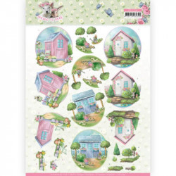 Carte 3D à découper - Spring is here - Cabanes de jardin - Amy Design