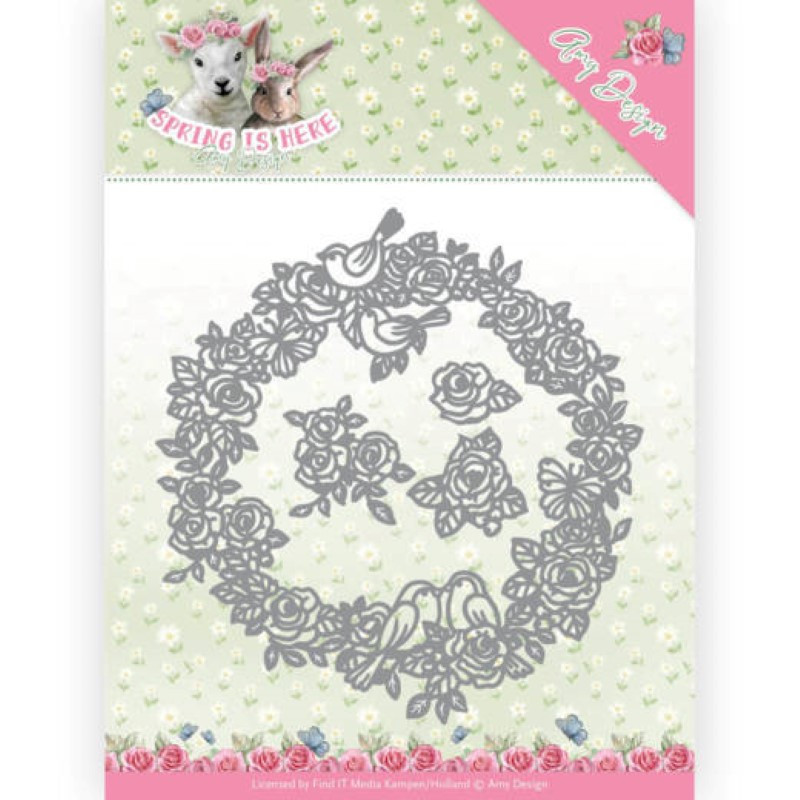 Die - amy design - Spring is here - Cercles de roses 12.1x12.8 cm