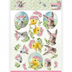 Carte 3D à découper - Spring is here - Bébés animaux - Amy Design