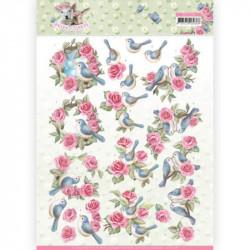 Carte 3D à découper - Spring is here - Oiseaux et roses - Amy Design
