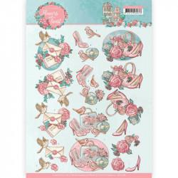 Carte 3D à découper -  Flowers with a Twist - Fleurs roses - Yvonne créations