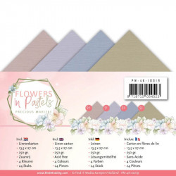 Set 24 cartes Flowers in pastels 13.5x27cm