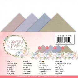 Set 24 cartes Flowers in pastels 13.5x27cm