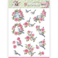 Carte 3D prédéc. - Amy design - Spring is here - oiseaux et roses - SB10333