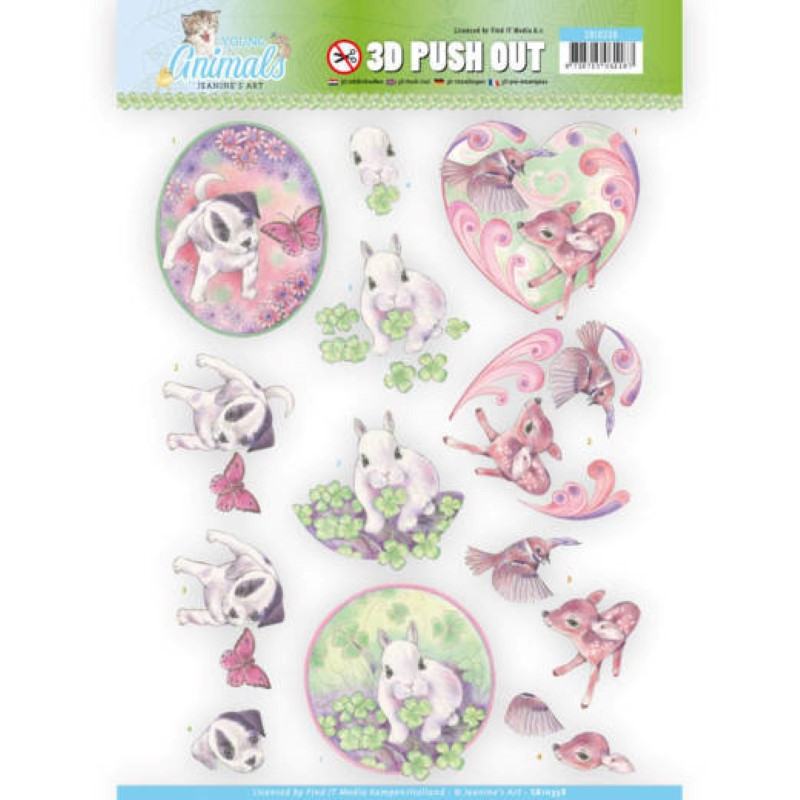 Carte 3D prédéc. - Jeannine's Art - Young animals - Bébés animaux - SB10338
