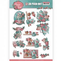 Carte 3D prédéc. -Yvonne créations - Flowers with a twist - Heure du thé - SB10340