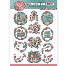 Carte 3D prédéc. -Yvonne créations - Flowers with a twist - Maisons fleuries - SB10342