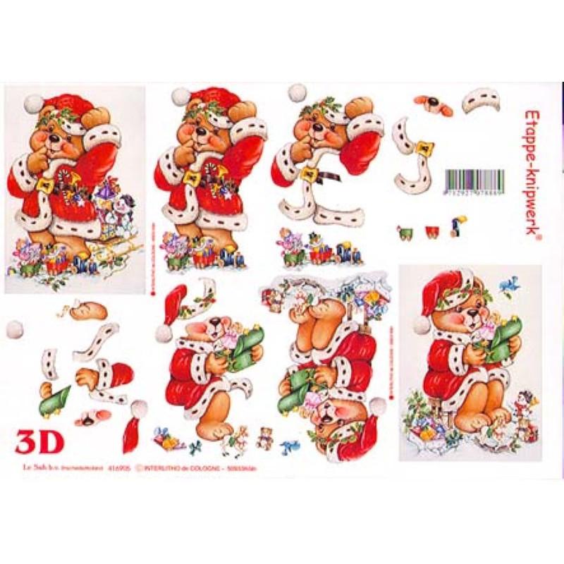 Carte 3D à découper - Ourson en père noël - 416905