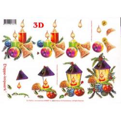 Carte 3D à découper - Bougies/boules de noël - 416907