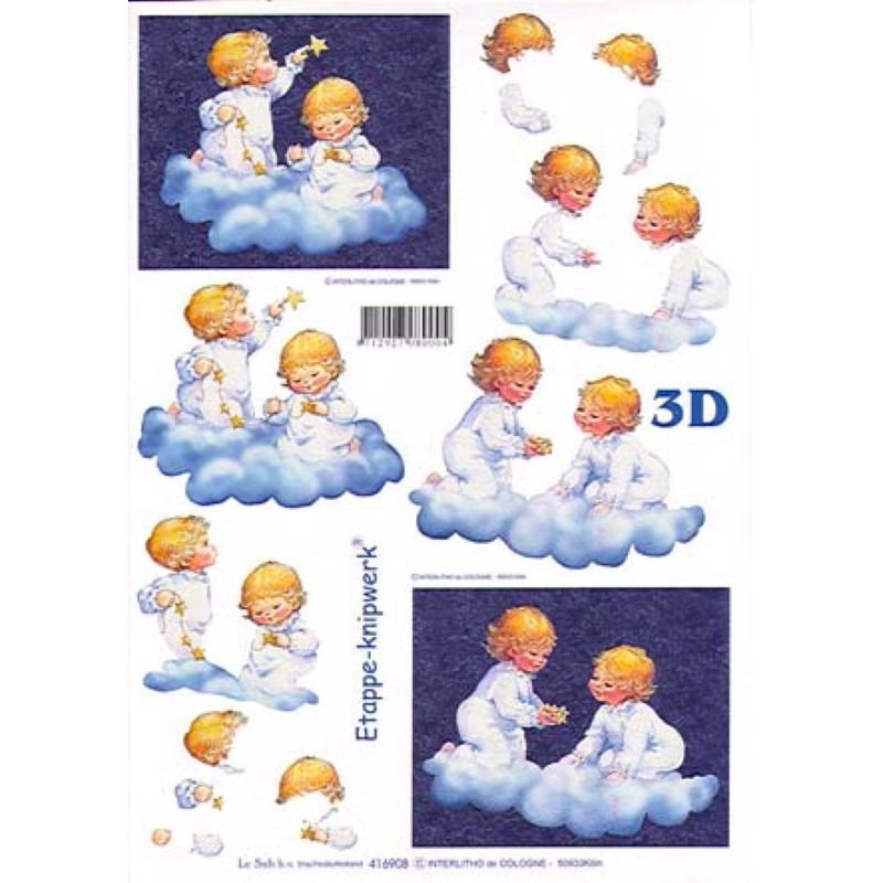 Carte 3D à découper - Angelots bleus - 416908