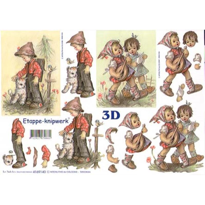 Carte 3D à découper - Garçon et 2 petites filles - 4169140