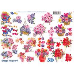 Carte 3D à découper - Fleur panier et brouette - 4169174