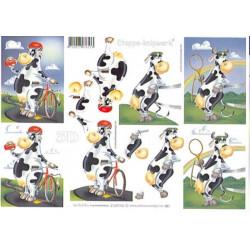 Carte 3D à découper - Vache vélo et tennis  - 4169196