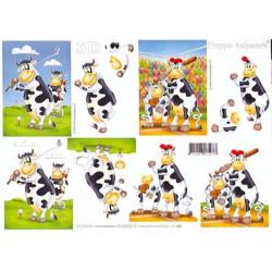Carte 3D à découper - Vache au golf et baseball - 4169202