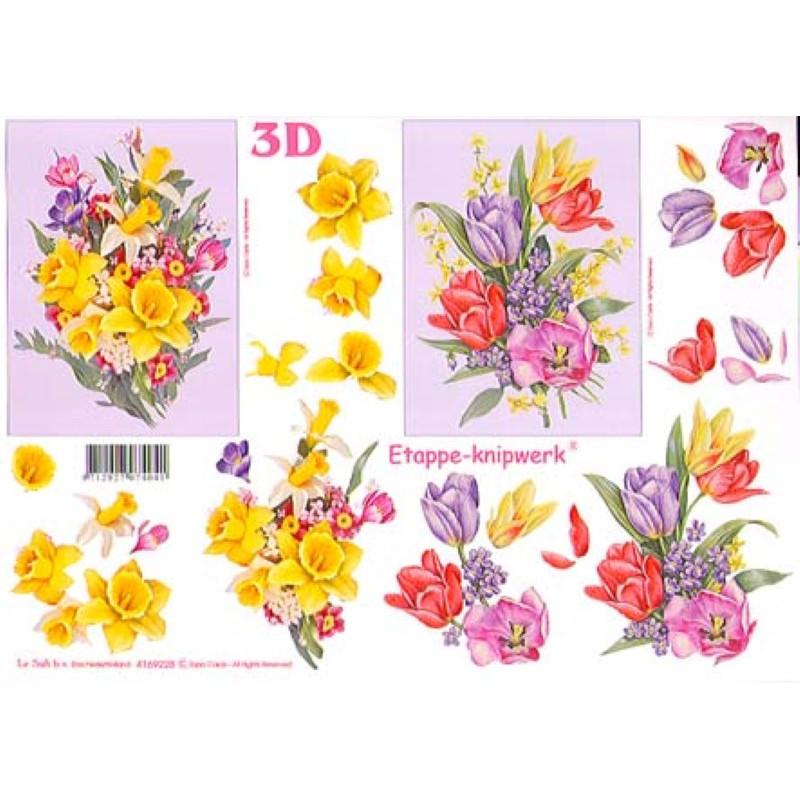 Carte 3D à découper - Bouquets fond blanc et mauve - 4169228