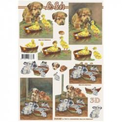 Carte 3D à découper - Chiots et bébés lapins - 4169265