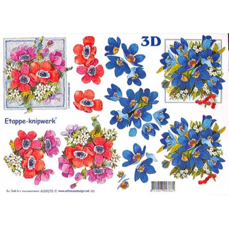 Carte 3D à découper - Bouquets bleu et rouge - 4169275