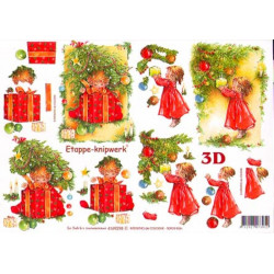 Carte 3D à découper - Petite fille décore sapin - 4169298